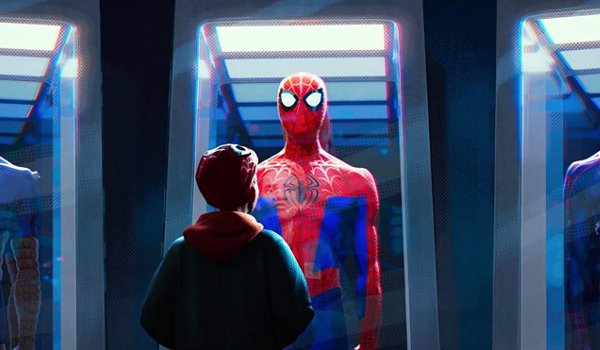 Spider-Man: Into The Spider-Verse Miles gazes at the spider suit in its case