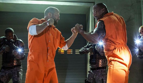 Hobbs and Shaw in The Fate of the Furious