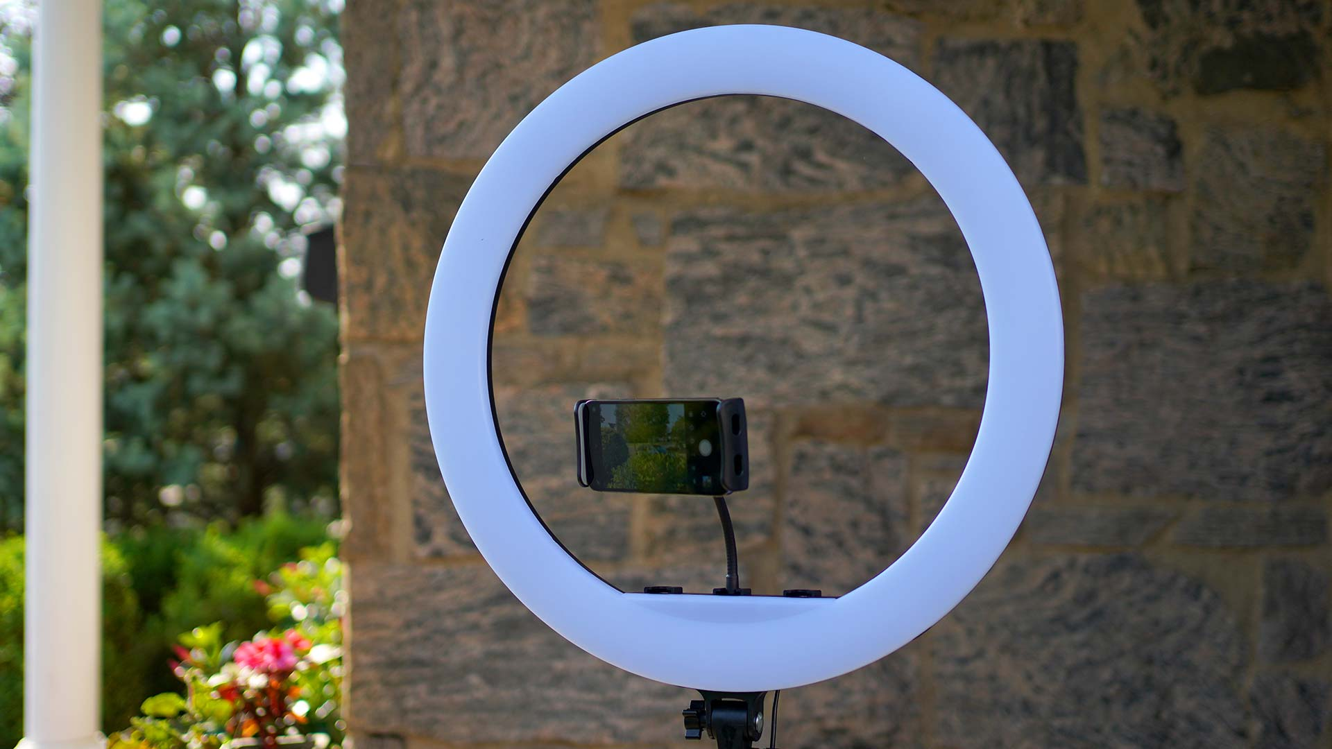 Inkletech 21-inch ring light in front of a wall