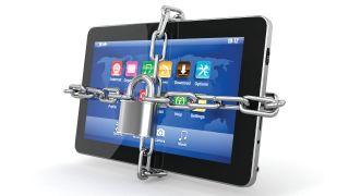 a padlocked iPad