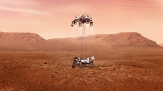 An illustration of NASA's Perseverance rover landing on the Red Planet.
