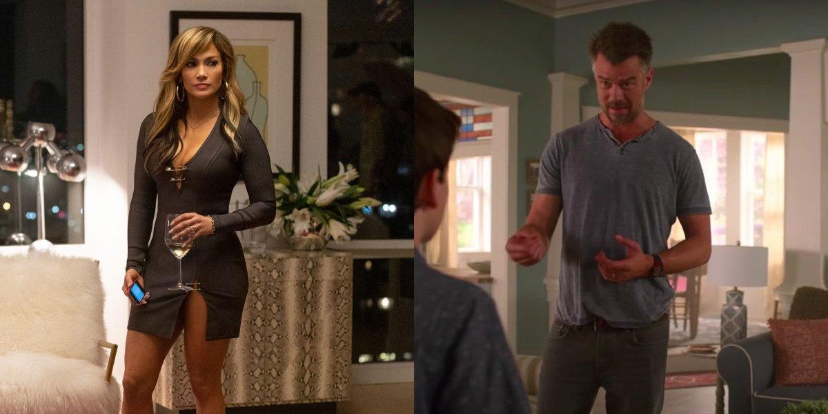 Jennifer Lopez in Hustlers and Josh Duhamel in Think Like A Dog, side by side.