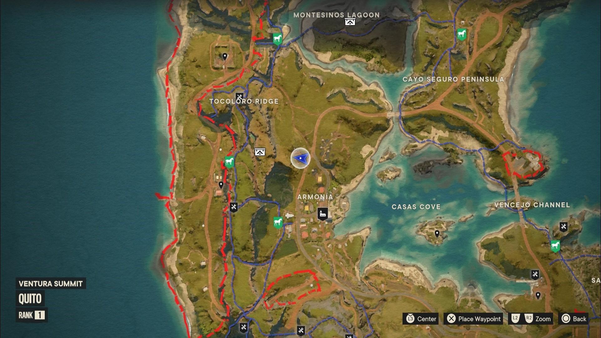 A Far Cry 6 Criptograma chest location marked on the map of Isla Santuario