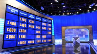 "The empty stage of the ""Jeopardy!"" game show."