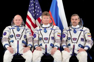 Astronaut Scott Kelly with Cosmonauts Padalka and Kornienko