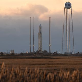 An Orbital ATK Antares rocket stands atop Pad 0A at NASA's Wallops Flight Facility on Wallops Island, Virginia during an attempted launch on Nov. 11, 2017. The launch was aborted at the last minute due to a wayward plane in the mission's restricted airspa