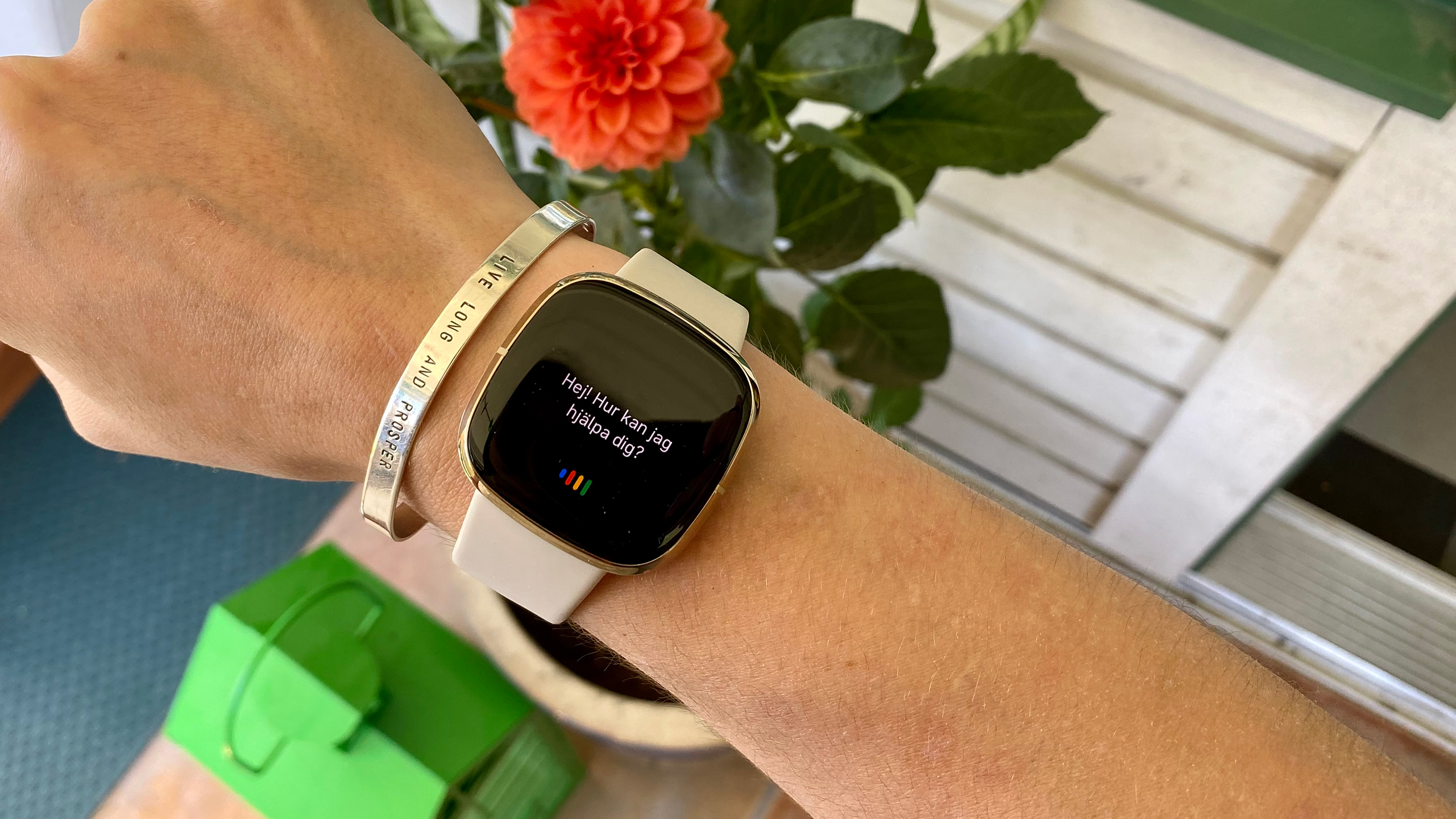 The Fitbit Sense showing the Google Assistant