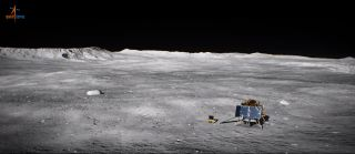 An artist's illustration of India's Chandrayaan-2 lander, Vikram, and its Pragyan rover on the surface of the moon.