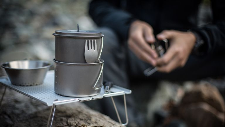 best camping cookware set: SnowPeak titanium Solo Combo 2.0