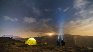 two campers wearing a pair of the best headlamps