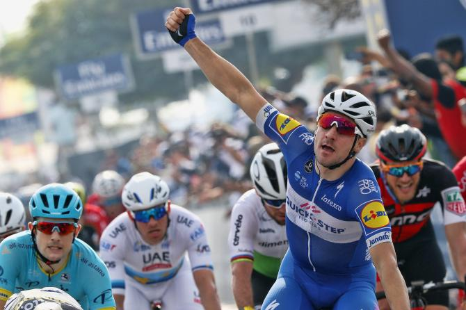Elia Viviani came back from a mechanical to win stage 2