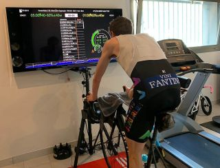 Dan Martin trains at home