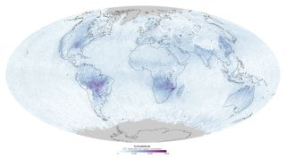 A map of the globe reveals formaldehyde gas in the atmosphere from fires and forest hydrocarbon emissions in September 2013.
