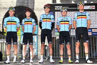 Viktor Verschaeve (left) lines up for Belgium in the under-23 road race at the 2018 UCI Road World Championships in Innsbruck, Austria