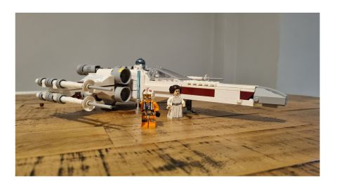 Lego Star Wars X-Wing review: Image shows the built set with minifigures.