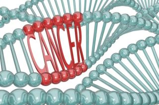 the word cancer in DNA helix