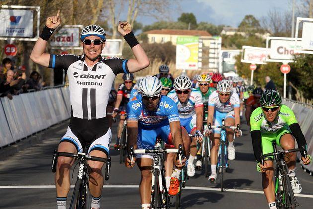 John Degenkolb (Giant Shimano) won Stage 1 of the 2014 Tour Méditerranéen, from Danilo Napolitano (Wanty-Groupe Gobert) and Sonny Colbrelli (Bardiani-CSF)