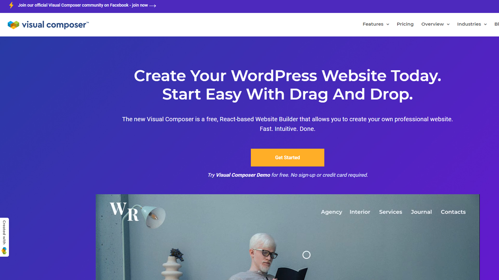 Visual Composer's homepage