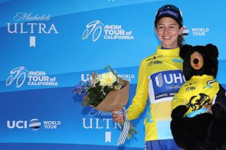 SACRAMENTO, CA - MAY 19: Overall winner Katie Hall of the United States riding for UnitedHealthCare Pro Cycling Team in the yellow Amgen Leaders jersey poses following stage three of the Amgen Tour of California Women's Race Empowered with SRAM, a 70km stage in Sacramento on May 19, 2018 in Sacramento, California. (Photo by Christian Petersen/Getty Images for AEG)