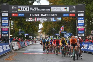 Riders pass through the finish area at the 2019 World Road Race Championships in Harrogate
