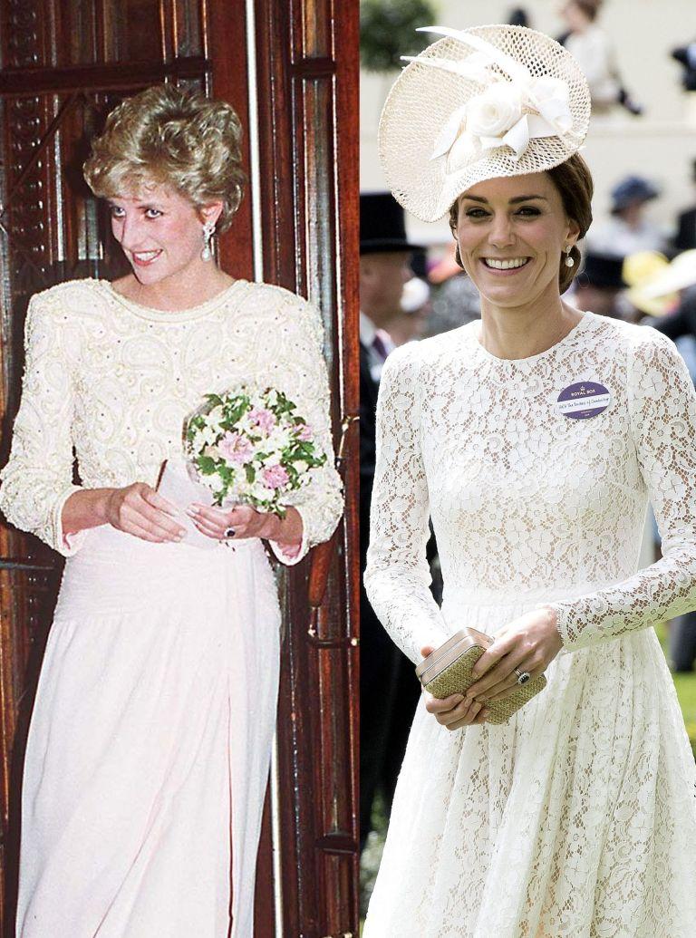 Kate wearing a white lace dress at Royal Ascot