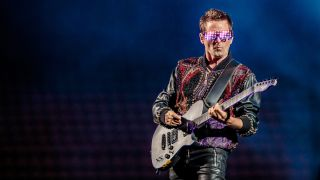 Matthew Bellamy of Muse performs at the San Siro Stadium on July 12, 2019 in Milan, Italy.