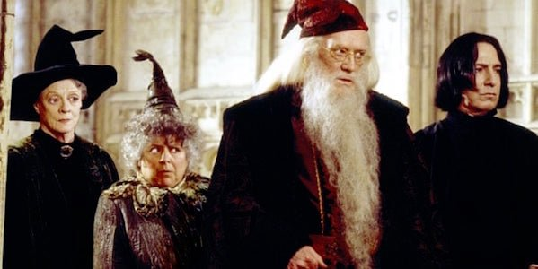 Maggie Smith as McGonagall, Miriam Margolyes as Sprout, Richard Harris as Dumbledore, Alan Rickman a