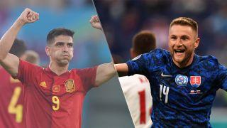 Slovakia vs Spain live stream at Euro 2020 — Gerard Moreno of Spain and Milan Skriniar of Slovakia
