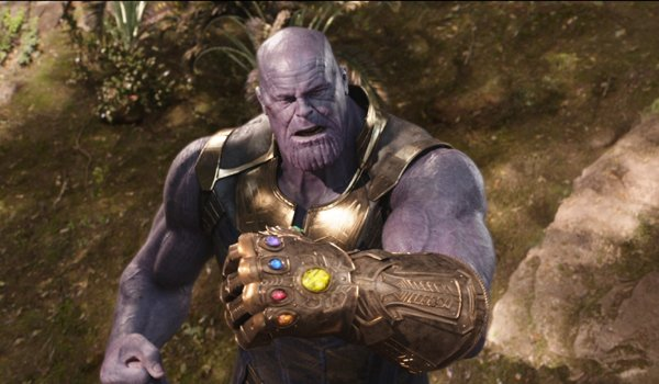 Thanos with the completed Infinity Gauntlet in Avengers Infinity War