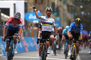 Julian Alaphilippe (Deceuninck-QuickStep) celebrates his win on stage 2 of Tirreno-Adriatico