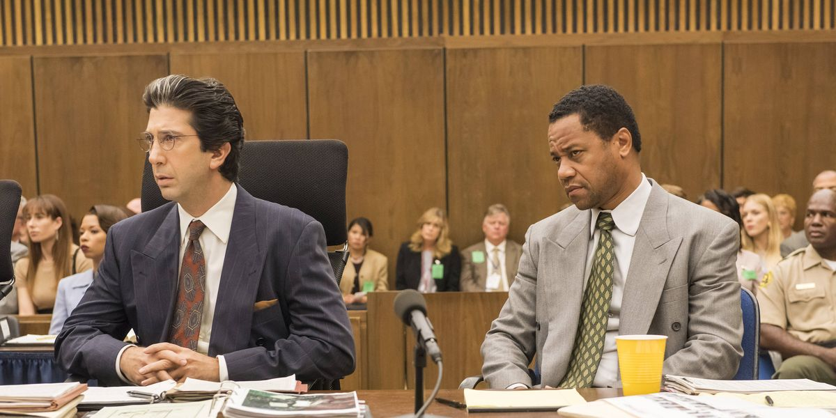 David Schwimmer and Cuba Gooding Jr. in The People vs. O.J. Simpson.