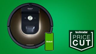 "Render of a robot vacuum next to ""Techradar: Price Cut"" logo"