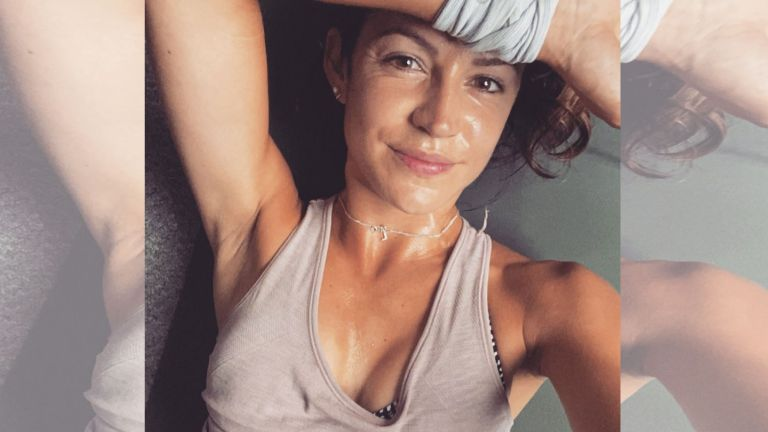 Our writer Lucy Gornall looks sweaty after completing a tough workout