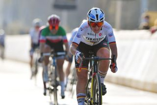 Lisa Brennauer (Ceratizit-WNT) wins the sprint for second in the Tour of Flanders