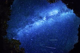 A composite photo of the Perseid meteor shower taken in December of 2013.