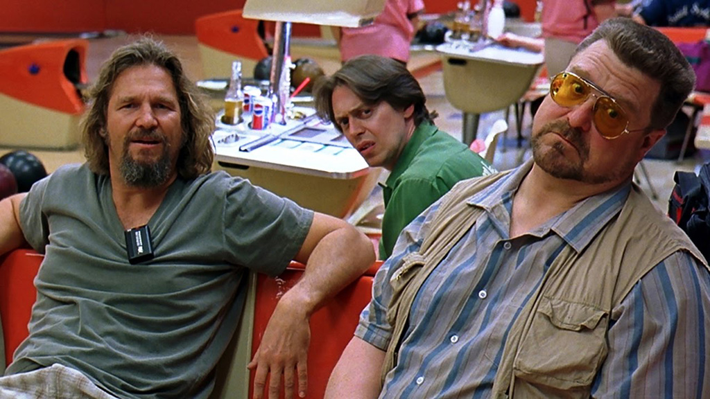 An iconic shot of the classic movie The Big Lebowski