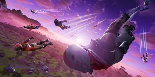 Players dive onto the Fortnite battlefield.