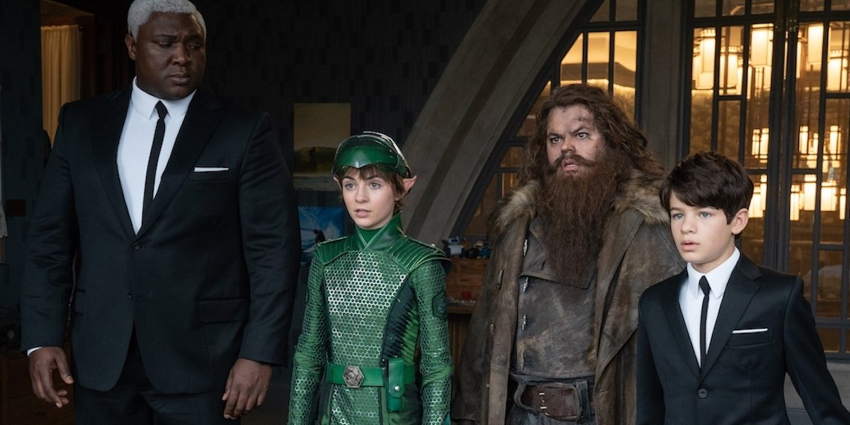 Nonso Anozie, Lara McDonnell, Josh Gad and Ferdia Shaw in Artemis Fowl
