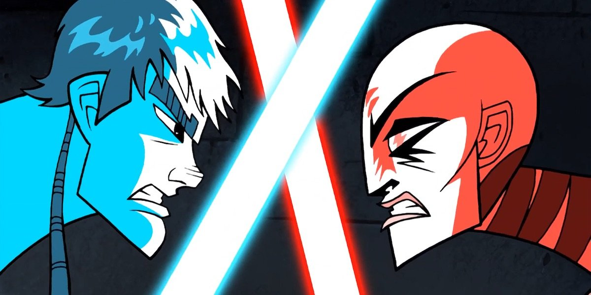 Anakin Skywalker and Asajj Ventress locked in lightsaber duel