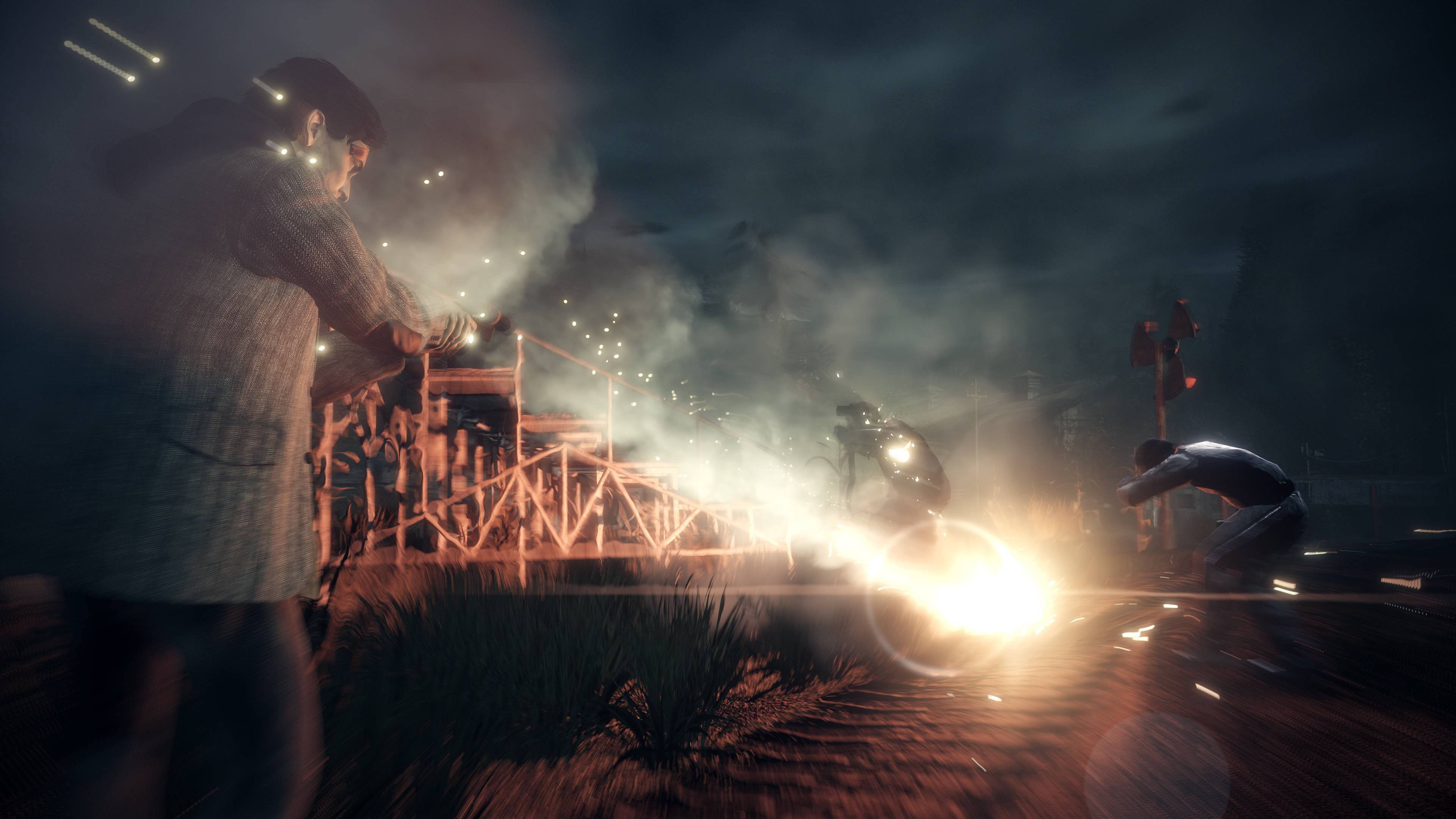 Alan Wake firing a flare gun in Alan Wake Remastered
