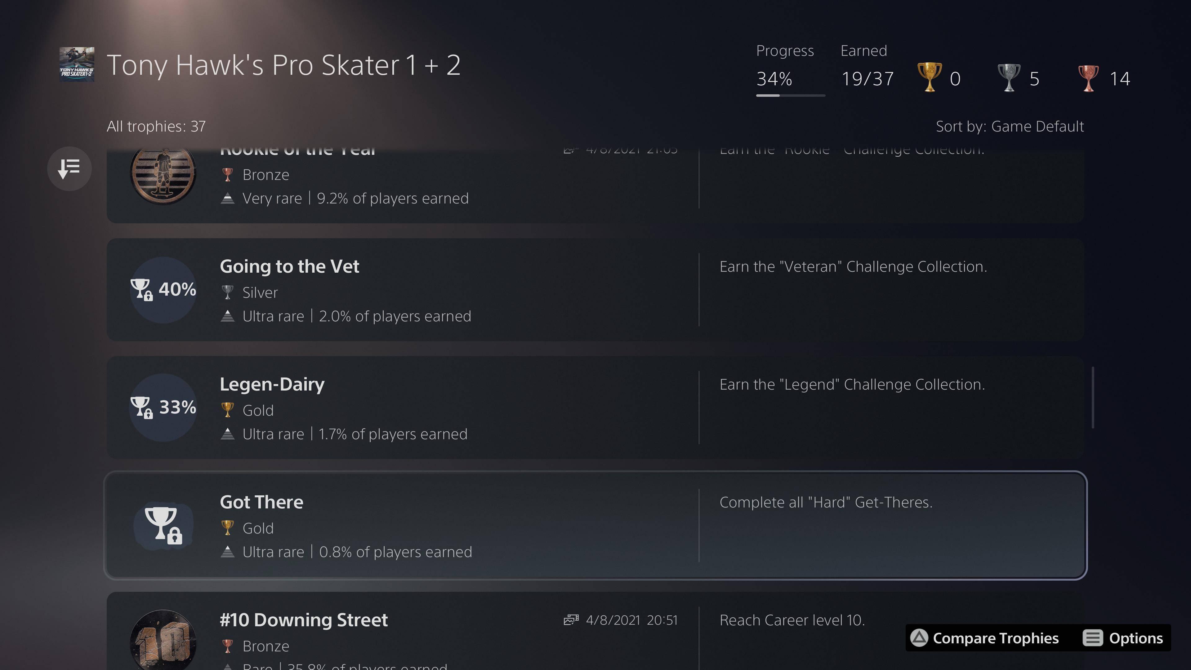 Tony Hawk's Pro Skater 1 + 2 Trophy list on PS5