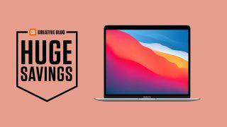 Apple Macbook on pink background with text that says huge savings