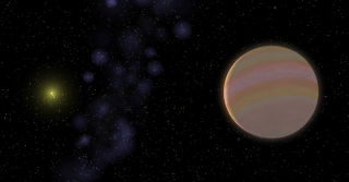 Artist depiction of Jupiter-like planet, star hd 32963