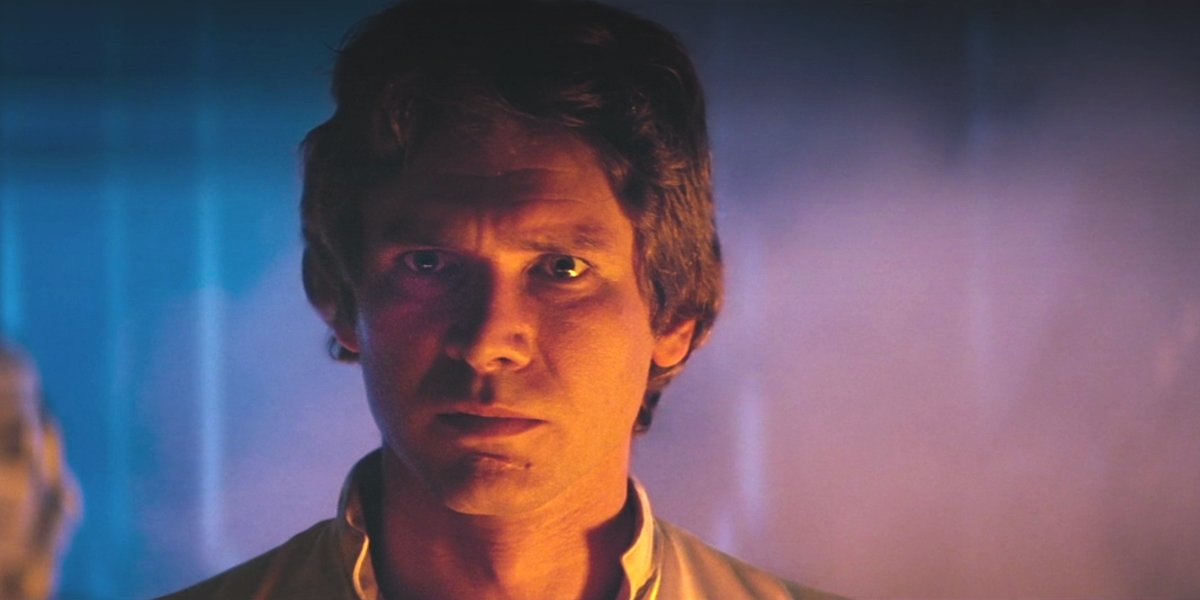 """Han Solo before saying """"I Know"""" in Star Wars: The Empire Strikes Back"""
