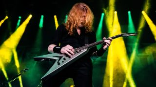 Dave Mustaine of Megadeth performs at Motorpoint Arena on January 30, 2020 in Cardiff, Wales