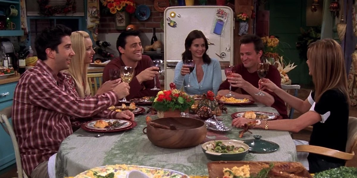 The cast of Friends at Thanksgiving