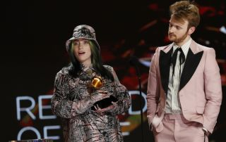 Billie Eilish and Finneas win the award for Record of the Year at The 63rd Annual Grammy Awards
