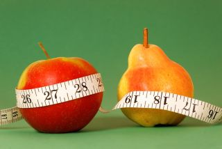 Types of female body shape. Apple and Pear with type measure on green background.
