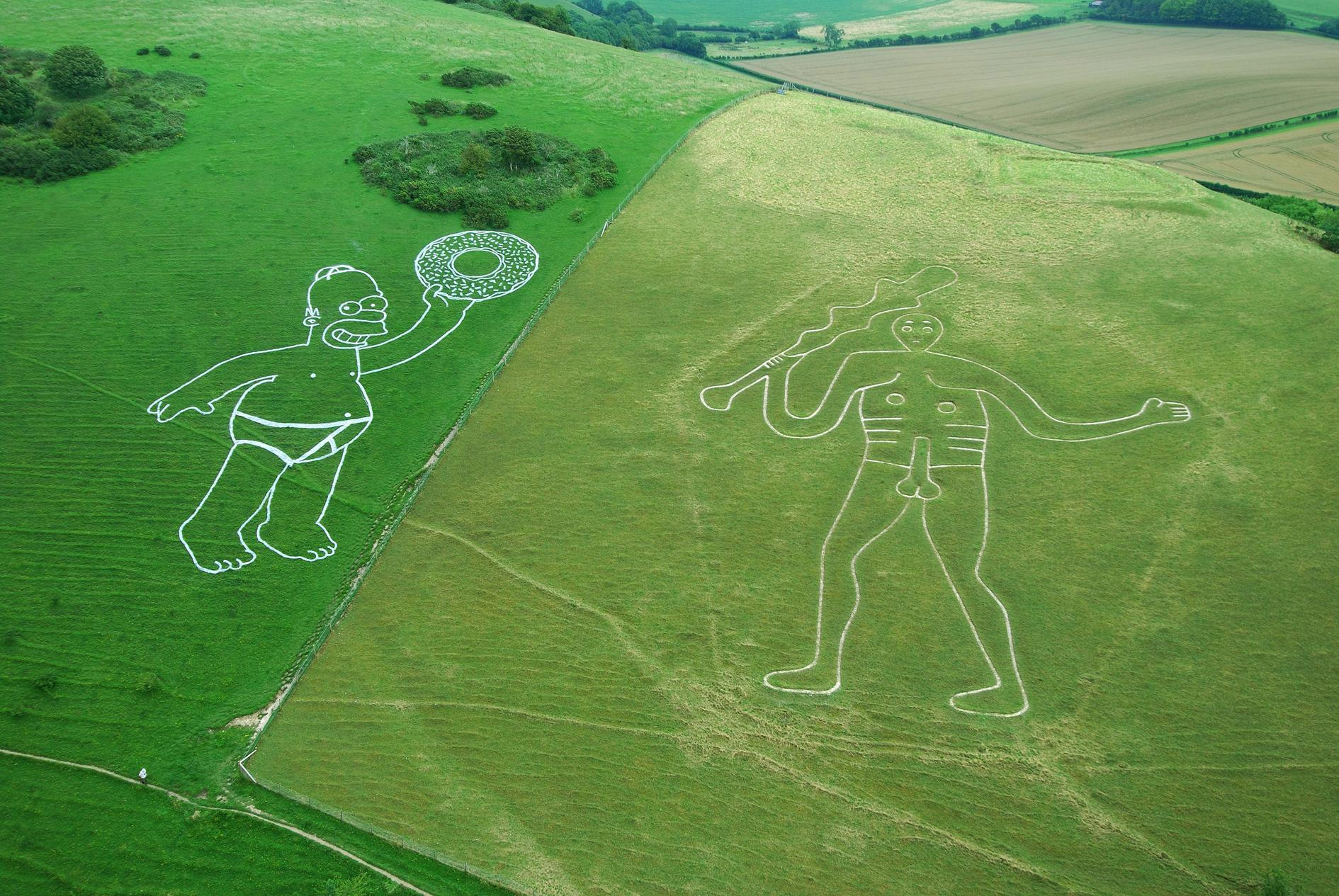 'Chalk' Homer appears next to Cerne Abbas giant