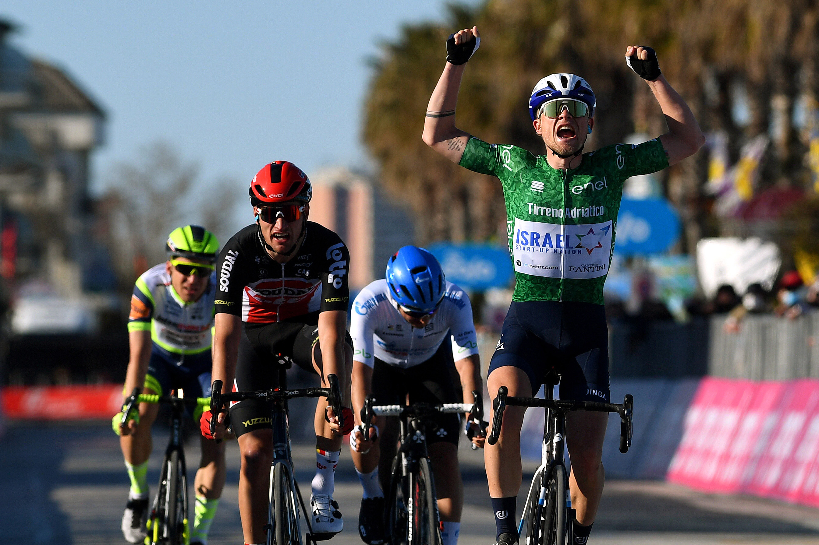 Mads Wurtz Schmidt wins stage 6 of the 2021 Tirreno-Adriatico.